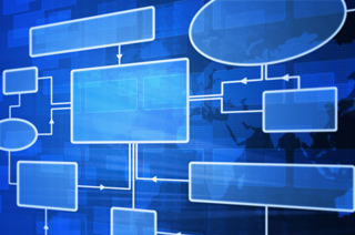Image of organizational chart with blue background